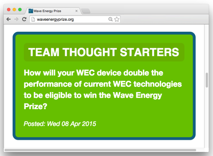 Wave Energy Prize Team Thought Starters